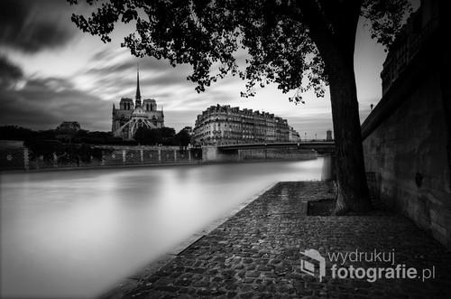 Widok na katedrę Notre Dame z wyspy Świętego Ludwika, długa ekspozycja, czarno białe.