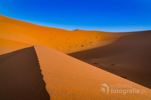 Pustynia Sahara, w pobliżu granicy Maroka i Algierii. Sierpień, 2016.