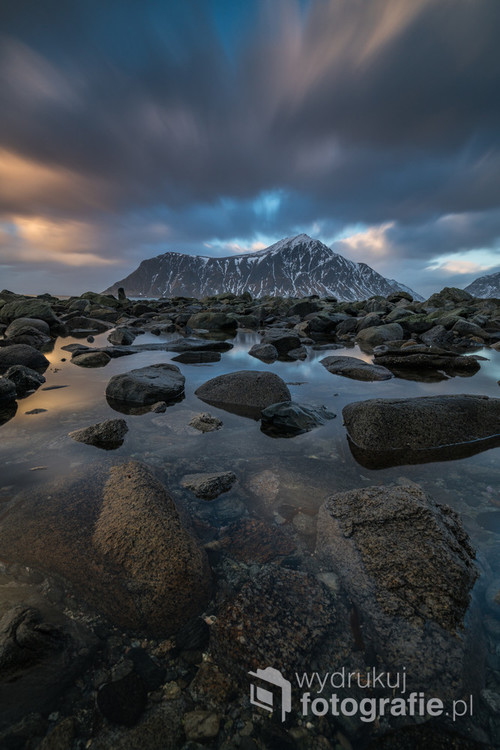 The stones in the sea on the Skagsanden beach in Lofoten Islands, Norway 2017
