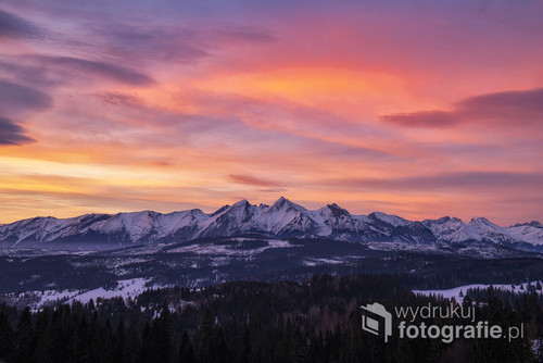 Beautiful landscape of mountains during winter - Polish Tatras mountains
