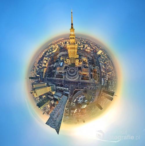WARSAW, POLAND - DECEMBER 01, 2018: Beautiful panoramic aerial drone view