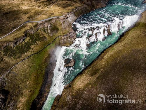 Gulfoss, Złoty Wodospad z góry, Islandia
