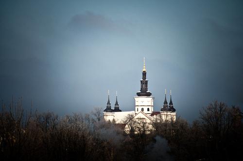 Klasztor w Supraślu, widziany ze wzniesienia po drugiej stronie miasteczka