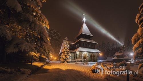 Śnieżna noc podczas zakopiańskiej jesieni 2016