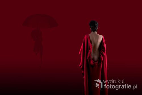 Zdjęcie nawiązujące do odkrywania własnej kobiecości, tęsknoty kobiecej duszy. Fotografia stanowi połączenie dwóch zdjęć tej samej kobiety obecnej na pierwszym i drugim planie. Głęboka czerwień obrazuje potrzebę twórczości, dynamizmu i ekspresji.