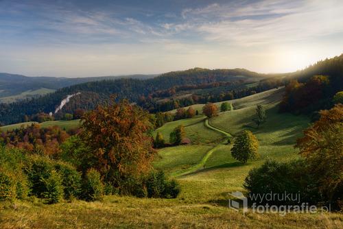 Beautiful view of sunrise in autumn Pieniny mountain