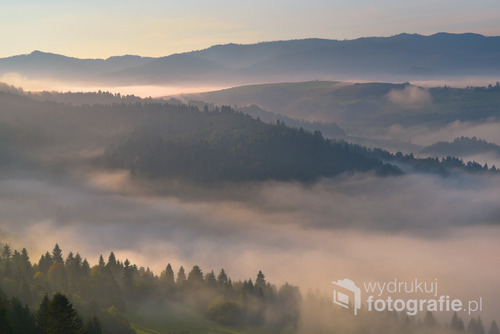 Poranne mgły nad Pieninami