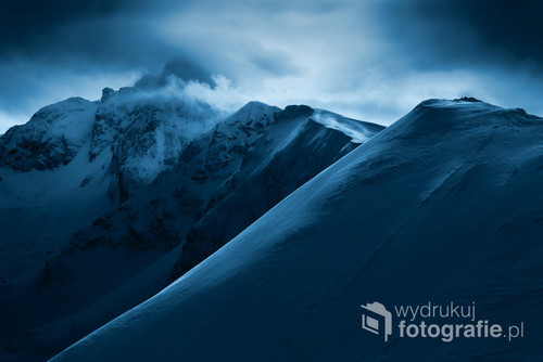 Dramatic view from Kasprowy Wierch to Swinica peak. Tatra mountain