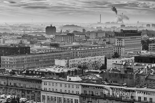 Warszawa. Widok z bloku przy ulicy Chmielnej. 19 piętro. Październik 2016