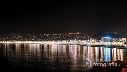 Promenada Anglików nocą, Nicea, Francja