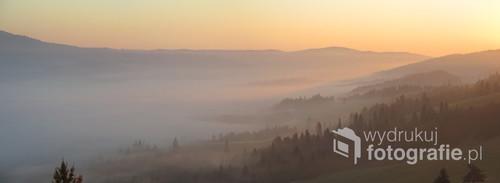 Pieniński świt, widok z Wysokiego Wierchu, jesień 2018.