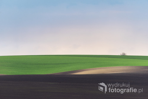 Wavy abstract landscape with clear sky on South Moravia , Czech Republic