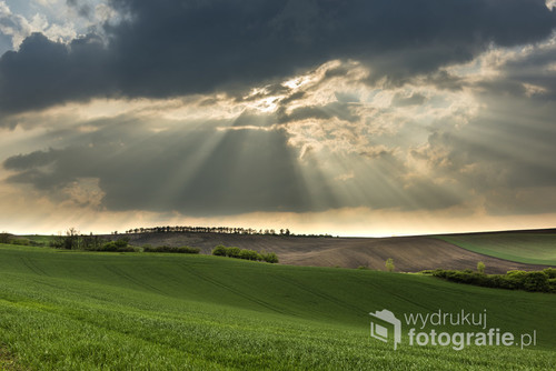 Cloudy wavy landscape of Moravian fields, Czech Republic