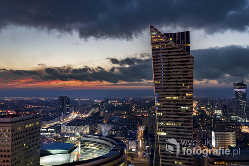Panorama of Warsaw downtown during the night, Poland
