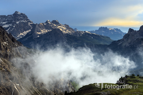 Spring mountains, panorama - snow-capped peaks of the Italian Alps. Dolomites, Alps, Italy, Trentino Alto Adige.