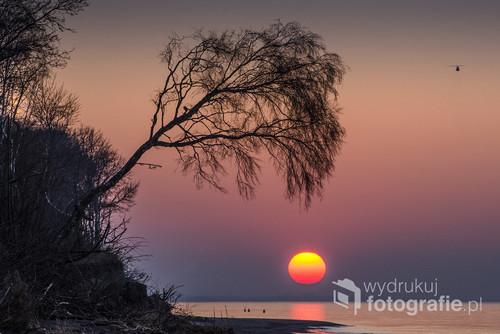 Zachód słońca nad Bałtykiem w Pleśnej