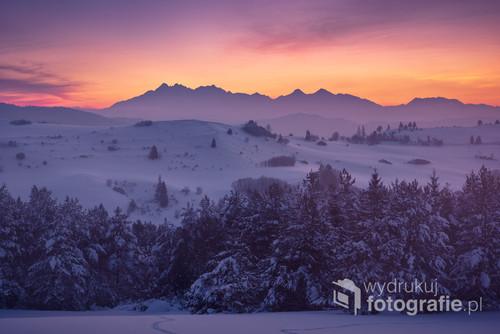 Zimowa panorama Tatr z Pienin
