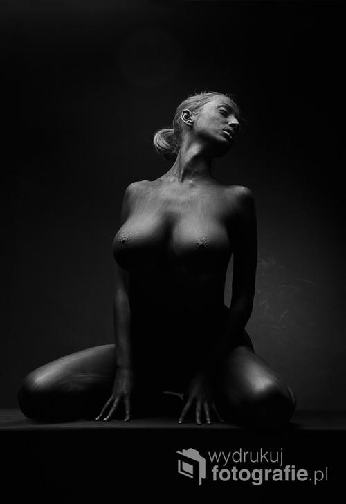 Na potrzeby sesji cialo modelki pokryte czarna farbą do bodypaintingu. Fotografia nagrodzona mi.in. podczas: Fine Art Photography Awards 2018, Złotym Medalem Serbskiego Towarzystwa Fotograficznego podczas Beauty of Face & Body 2016 3rd International Biennal of Photography w Belgradzie.