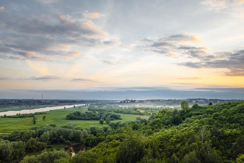 Panorama Sandomierskiego Starego Miasta z widoku z okolicznych Pieprzowych Gór.