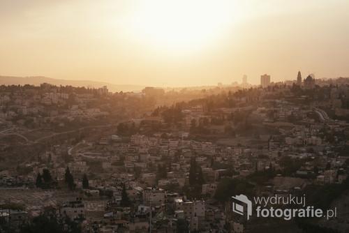 Jerozolima o zachodzie słońca widziana z Góry Oliwnej