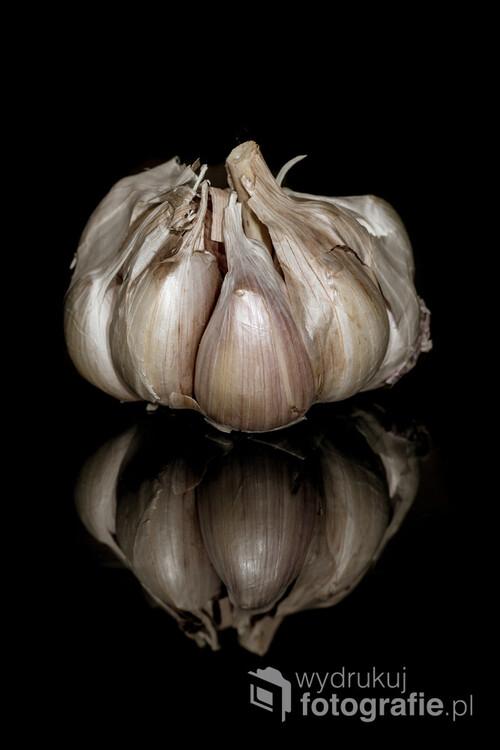 główka czosnku, fotografia makro