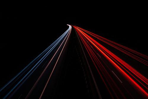 Światła aut na autostradzie A4