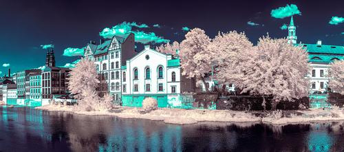 Panorama złożona z kilku kadrów. Fotografia wykonana aparatem zmodyfikowanym do fotografii w podczerwieni