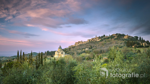 Skyline of the aerial view of the film famous town Montepulciano, Italy