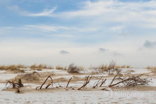 Wydmy na Helu w styczniu prezentują się pięknie i delikatnie. Kolory nieba, piasku i śniegu dają  harmonijne połączenie. Przemierzyłam wiele kilometrów w mroźny wietrzny dzień, by uchwycić ten obraz.