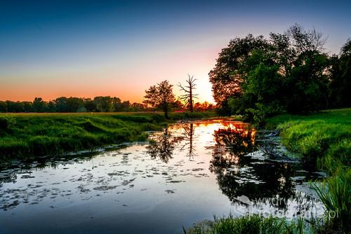 Refleksy w Warcie o zachodzie słońca. Rogalin, Wielkopolskie.