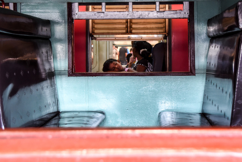 Wnętrze pociągu. Sri Lanka.