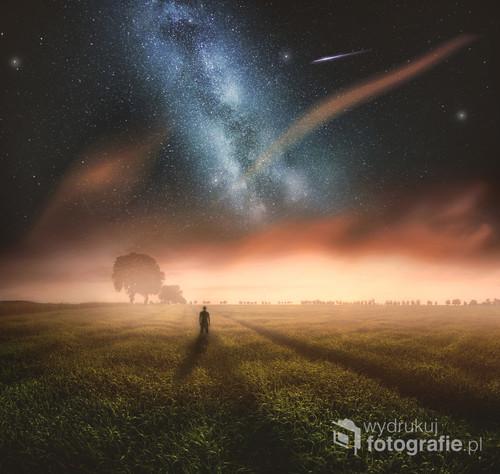 Sen o pięknym zachodzie, surrealistyczna fotowizja.