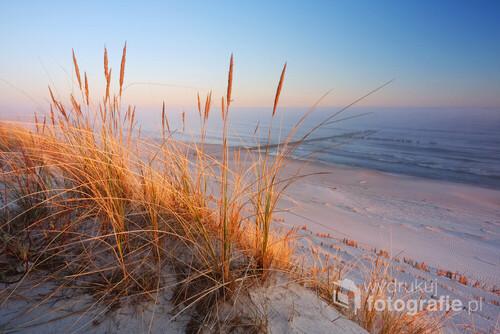 Wiosenny ,mglisty wschód słońca na wybrzeżu Morza Bałtyckiego. Wydmy w Dźwirzynie, Polska..