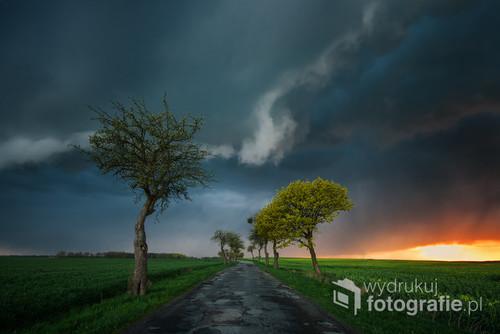 Fotografia wykonana obiektywem szerokokątnym,który pozwolił,zarejestrować groźne chmury z których po chwili padał deszcz.Zdjęcie wykonane na jednej z dróg w okolicy Sztumu.Fotografia znajduje się także w galerii wysokiej(zdjecia wybitne) portalu fotoferia z bardzo wysokim poziomem zdjęć.