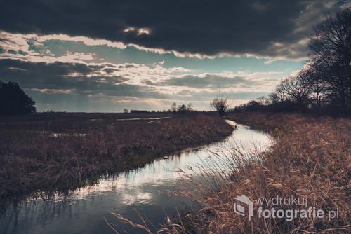 Wiosenne spacery są okazją do złapania wielu ciekawych kadrów Na zdjęciu rzeka Oleśniczanka oświetlona promieniami słońca wyłaniającego się zza chmur.