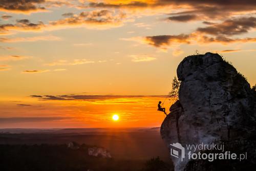 zachód słońca, Góra Zborów, Jura Krakowsko   - Częstochowska