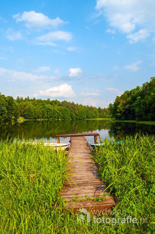 Mały pomost, schowany pośród lasu, nad brzegiem jeziora Szeląg Wielki.