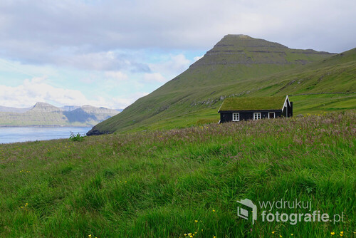 Wyspy Owcze, Gkógv. Tradycyjnie domy na Wyspach Owczych, jak i w północnej Norwegii pokrywano trawą, a trzeba przyznać, że jej tu nie brakuje.  Takie stare chatki wyglądają, jakby urosły, a nie zostały wybudowane ręka człowieka.