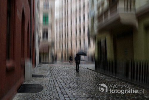 Zdjęcie zostało wykonane w Toruniu na ulicy Szerokiej  w deszczowy dzień. Efekt rozmycia/poruszenia wykonany jest programowo.