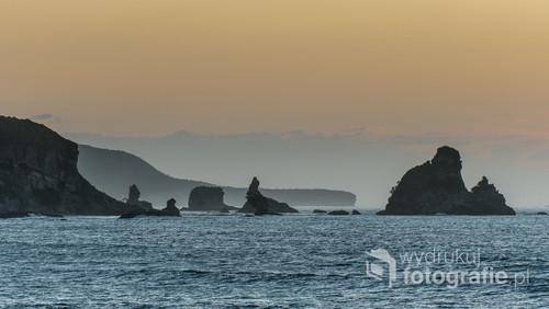 Klify i skalne wysepki nad Morzem Tasmana w Punakaiki na południowej wyspie Nowej Zelandii.