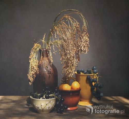 jesienny klimat zawarty w obrazie martwej natury z winogronami i mirabelkami