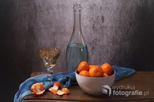 obraz martwej natury z mandarynkami