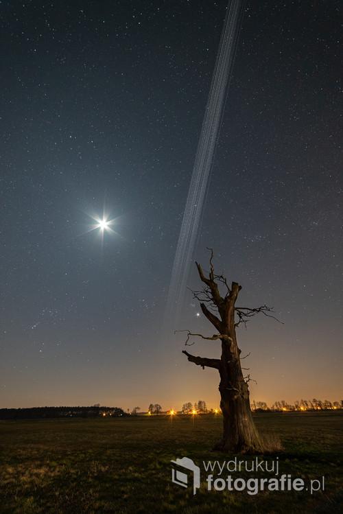 Przelot 33 satelitów z czwartej grupy StarLink, sfotografowany nad starym dębem w okolicy Strzałkowa, wielkopolskie. Kompozycja zdjęć wykonanych 31. marca 2020 r. w godzinach 21:18-21:41. Z obiektów astronomicznych warte zauważenia są: - koniunkcja Wenus i Plejad - Orion tuż nad horyzontem z lewej strony - satelity StarLink przelatują natomiast przez gwiazdozbiór Woźnicy, przysłaniając nieco najjaśniejszą w nim gwiazdę - Kapellę.