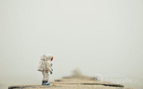 fotografia przedstawia figurkę kosmonauty sfotografowanego na falochronach na plaży w Sarbinowie.