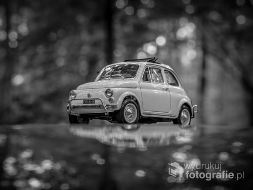 fotografia przedstawia model Fiata 500 w skali 1:18, fotografia została wykonana w lesie, model został położony na dachu normalnego samochodu przez co powstał efekt odbicia.