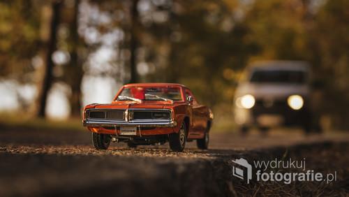 fotografia przedstawia Dodge Charger R/T 1969 w skali 1:18, została wykonana na jednej z pod Poznańskich dróg prowadzących przez las, miałem szczęście bo akurat nadjeżdżał inny prawdziwy samochód który nadał charakteru fotografii.