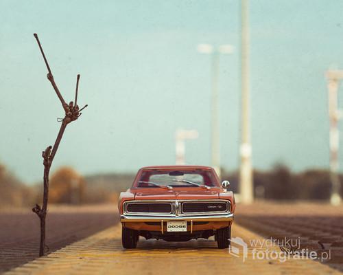 fotografia przedstawia model Dodge Charger R/T 1969  w skali 1:18, została ona wykonana w świetle zastanym na jednym z pod Poznańskich peronów.