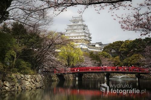 Fotografia przedstawia najpiękniejszy zamek samurajski w Japonii Himeji. Jest to jedna z najstarszych, istniejących do dziś budowli Japonii. Został wpisany na listę światowego dziedzictwa UNESCO. Wraz z zamkami: Matsumoto, Inuyama oraz Hikone posiada status Skarbu Narodowego Japonii. Zdjęcie wykonane w IV 2017 r. Początek kwitnienia wiśni.