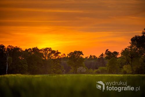 Zachód słońca w dolinie Obry woj Wielkopolskie
