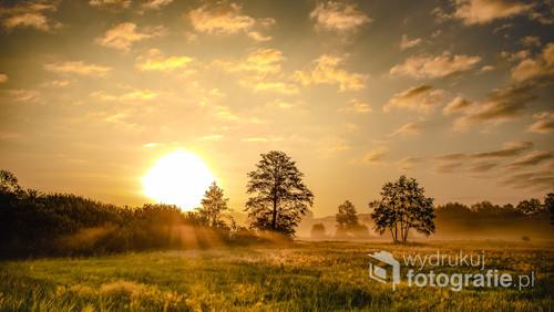 Wschód słońca w dolinie Obry woj. Wielkopolskie.
